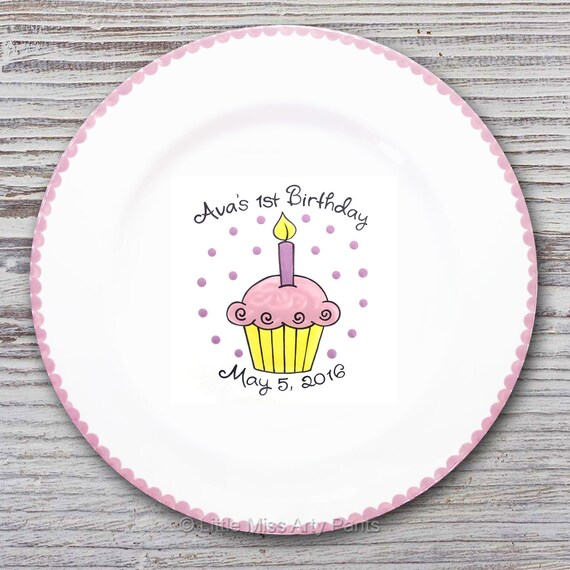 Personalized Birthday Signature Plate - Birthday Cupcake Design - Personalized Birthday Plate - Happy Birthday Plate - 1st Birthday plate