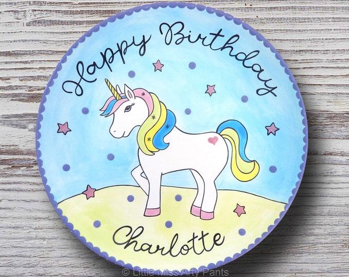 Personalized Birthday Plates - Happy Birthday Plate - 1st Birthday Plate - Hand painted Ceramic Birthday Plate - Unicorn Design