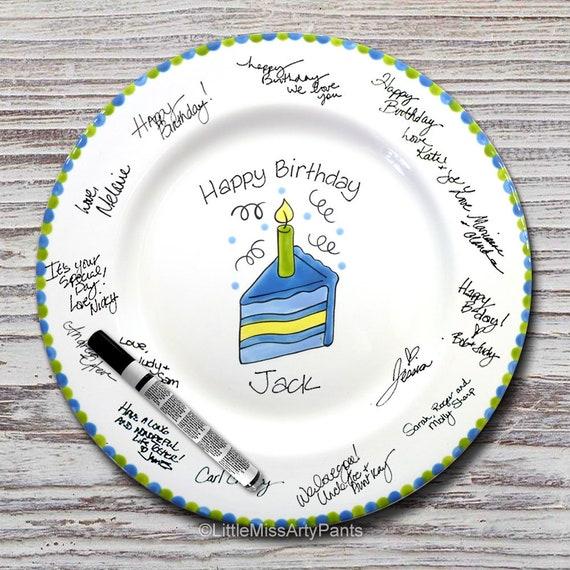 Hand Painted Signature Birthday Plate -Blue Slice of Cake -Happy Birthday Plate -1st Birthday - Birthday Cake - Birthday Gift