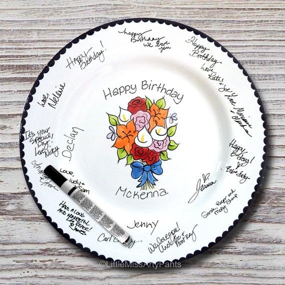 Hand Painted Signature Plate - Flower Bouquet Design - Guest Book Plate - Birthday Plate - Shower Plate