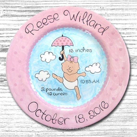 Personalized Birth Plates - Personalized Ceramic Baby Plate - Personalized Baby Plates - Baby Shower Plates - Umbrella Baby Design -New Baby