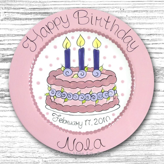 Personalized Birthday Plates - Happy Birthday Plate - 1st Birthday Plate - Hand painted Ceramic Birthday Plate - Floral Birthday Cake Design