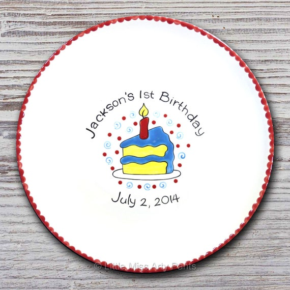 Personalized Birthday Signature Plate - Piece of Cake - Birthday Plate - Happy Birthday Plate - 1st Birthday plate - Birthday Cake