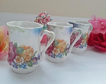 Vintage Floral Floral Lustre Chocolate Cups Set of Three