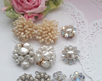 Vintage Pearl and Sparkle Clip Earrings Collection of Five - Glamour