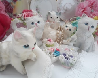 Vintage Instant Kitten Collection Figurines Kitsch Set of Five - Cat Lover Gift