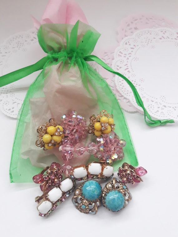 Vintage Clip/Screw Earrings Colorful Collection of