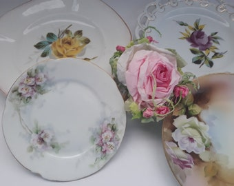 Vintage Floral Mismatched Plate Collection of Four - Bridal Weddings