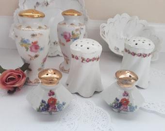 Vintage Floral Salt and Pepper Shakers Set of Three - Bridal Weddings