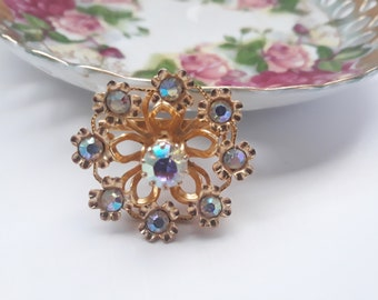 Vintage Austrian Goldtone Aurora Borealis Brooch - Chic Accessory