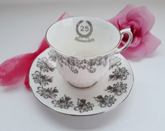 Vintage Elizabethan 25th Anniversary Teacup and Saucer - Wedded Bliss