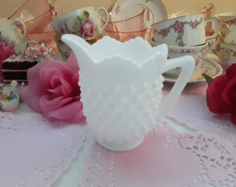 Vintage Fenton Milk Glass Hobnail Creamer - Classic Style