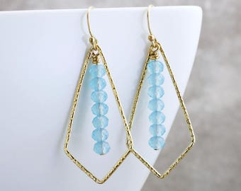 Crystal Bar Earrings Contemporary Jewelry Colorful Earrings Blue Crystal Earrings Geometric Jewelry Gold Bar Earrings Gift For Her