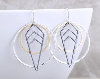 Geometric Earrings Dangle Earrings Modern Jewelry Mixed Metal Earrings Black Gold Dangle Earrings Trendy Earrings Holiday Gift For Her