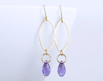 Purple Crystal Drop Earrings  Gold Hammered Earrings  Long Gold Crystal Earrings  Gold Dangle Earrings  Gift For Her  Mothers Day Gift Idea
