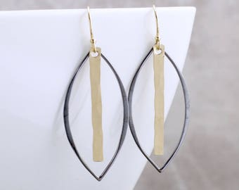 Minimalist Black And Gold Earrings Gold Dangle Earrings Oxidized Black And Gold Earrings Simple Gold Earrings Chic Earrings Edgy Earrings