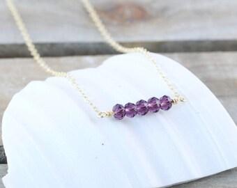 Minimalist Bar Necklace  February Birthstone Jewelry  Amethyst Birthstone Necklace  Gemstone Jewelry  Purple Necklace Mothers Gift Idea
