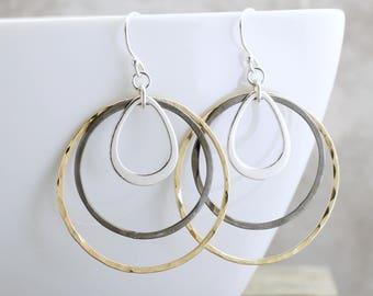 Hammered Hoop Earrings Gold Silver Black Earrings Mixed Metal Jewelry Geometric Earrings Circle Earrings Bohemian Jewelry Boho Earrings