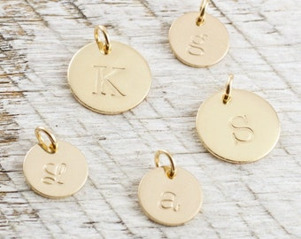 Gold Initial Charm  Personalized Initial Disc  Gold Filled Initial Pendant  Tiny Gold Initial Disc  Gift For Mom  Mothers Day  Personalized