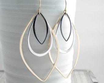 Gold Long Dangle Earrings Geometric Jewelry Modern Mixed Metal Earrings Bohemian Chic Earrings Long Dangle Earrings Gift For Her Mothers Day