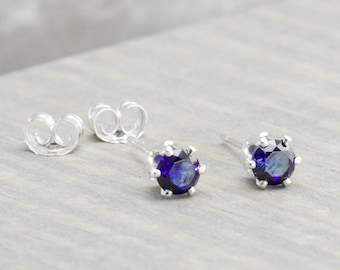 Sterling Silver Sapphire Stud Earrings - September Birthstone Earrings - 4mm Studs - September Birthday - Blue Earrings - Christmas Gift
