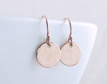 Rose Gold Dot Earrings - Tiny Pink Gold Earrings - Minimal Earrings - Dainty Dangle Earrings - Everyday Jewelry - Holiday Gift For Her