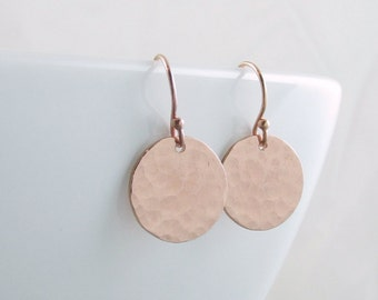 Rose Gold Earrings Pink Gold Circle Earrings Minimalist Jewelry Rose Gold Dangle Earrings Rose Gold Jewelry Xmas Gift Wife Mom Girlfriend