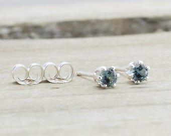 December Birthstone Earrings Blue Zircon Earrings Tiny Blue Earrings December Birthday Gift Birthstone Jewelry Blue Zircon Stud Earrings