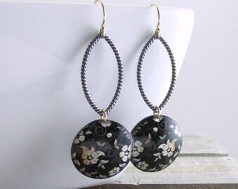 Black Gold Floral Earrings Bohemian Dangle Earrings Oxidized Silver Long Dangle Earrings Unique Black Gold Earrings Holiday Gift For Her