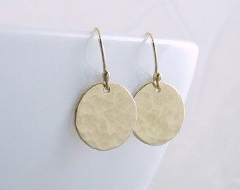 Gold Disc Earrings Gold Circle Earrings Minimal Earrings Gold Dangle Earrings Gold Dot Everyday Earrings Christmas Gift Wife Mom Girlfriend