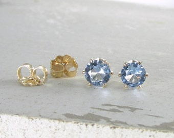 Aquamarine March Birthstone Earrings Gold Stud Earrings Light Blue Stud Earrings Aquamarine Earrings Birthstone Jewelry Holiday Gift For Her