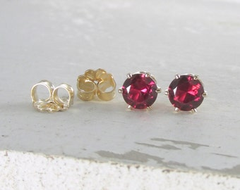 January Birthstone Earrings Gold Stud Earrings Garnet Earrings Post Earrings Birthstone Jewelry Tiny Stud Red Earrings Holiday Gift For Her