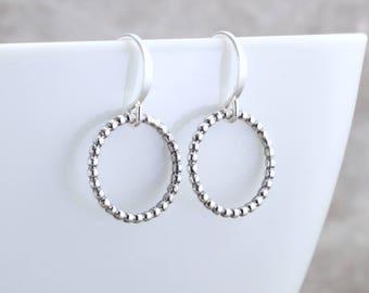 Simple Silver Circle Earrings Beaded Round Earrings Minimalist Jewelry Silver Hoop Earrings Modern Silver Earrings Jewelry Gift For Her