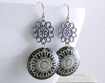 Black and Gold Dangle Earrings Bohemian Earrings Oxidized Silver Patterned Earrings Unique Jewelry Mixed Metal Jewelry Holiday Gift For Her