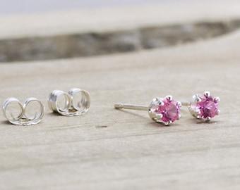 October Birthstone Earrings Pink Tourmaline Stud Earrings October Birthday Gift Dainty Pink Earrings Pink Tourmaline Birthstone Jewelry