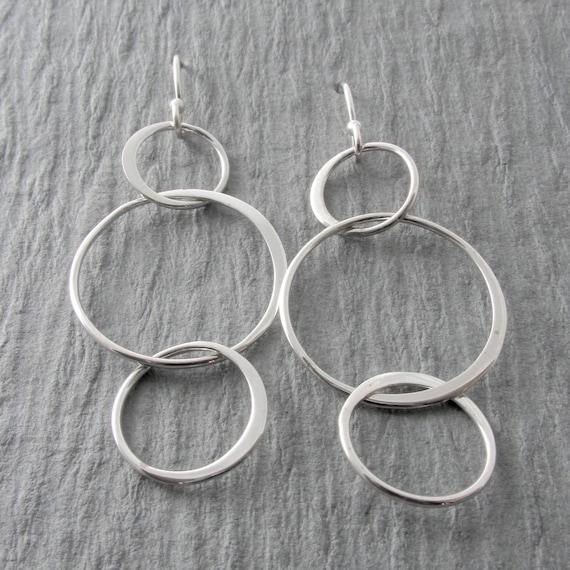 Simple Circle Earrings Modern Earrings Silver Dangle Earrings Everyday Earrings Mother/'s Day Gift Holiday Gift
