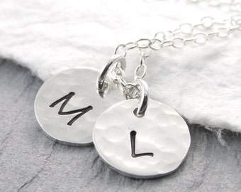 Sterling Silver Necklace Double Initial Necklace Christmas Gift Charm Initial Necklace Gift For Her Under 50
