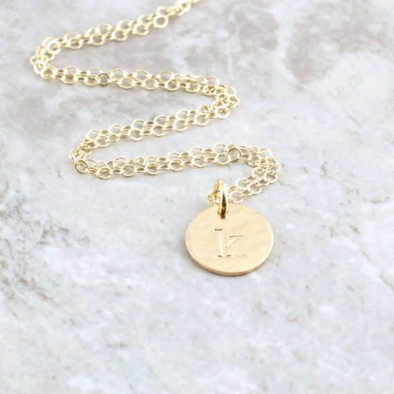 14k Gold Initial Necklace Solid Gold Initial Charm Necklace 14k Gold Pendant 14k Gold Initial Disc Gift For Mom 14k Gold Personalized