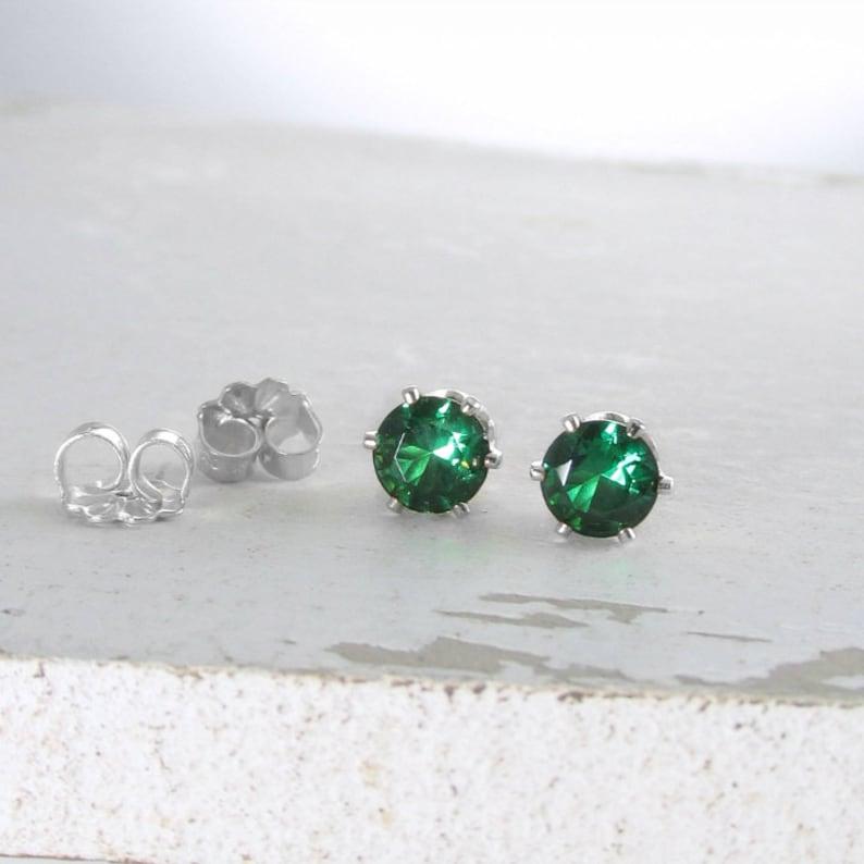 Silver Stud Earrings Silver Emerald Stud Earrings Emerald image 0