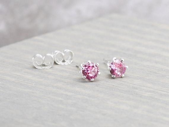 6 Ct Sterling Silver Tourmaline Stud Earrings October Birthstone