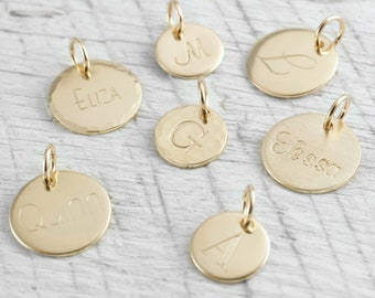 14k Gold Initial Pendant Gold Initial Charm Personalized Jewelry Tiny Gold Charm Gold Initial Pendant 14k Gold Necklace Holiday Gift