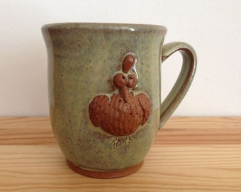 Chicken Mug - 12 oz - Cream colored cup with hand built hen