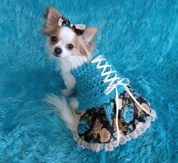 Made to order 2-20 lb dogs VICTORIAN Corset laced dog skirt-ter