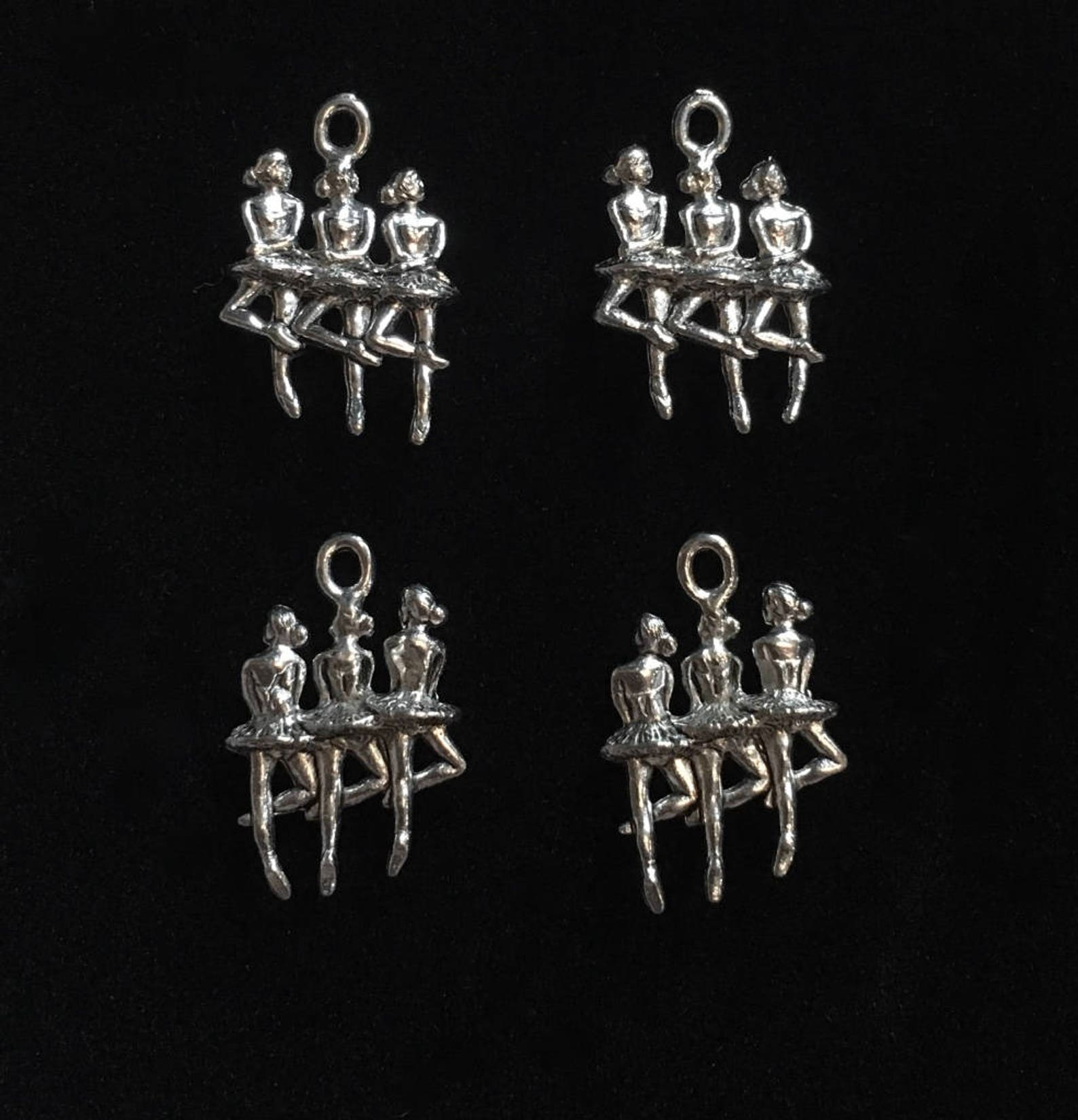 4 silver pewter ballerinas charms, trio of ballerina charms, ballet charms (qb103) - new charm