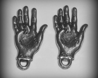 4 Silver Pewter Palmistry or Palm Reading Charms (qb97)
