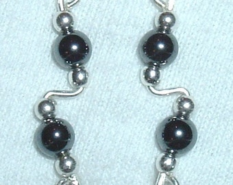 HEMATITE and Sterling Silver Ear Slides Climber Crawlers