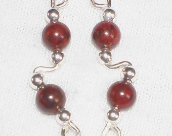 RED POPPY JASPER and Sterling Silver Ear Slides - Earrings - Pins for Ear
