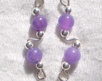PURPLE AVENTURINE and Sterling Silver Ear Slides Climber Crawlers