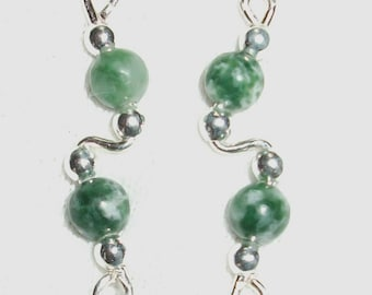 GREEN SPOT AGATE and Sterling Silver Ear Slides Climber Crawlers
