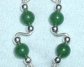 GREEN JADE and Sterling Silver Ear Slides Climber Crawlers